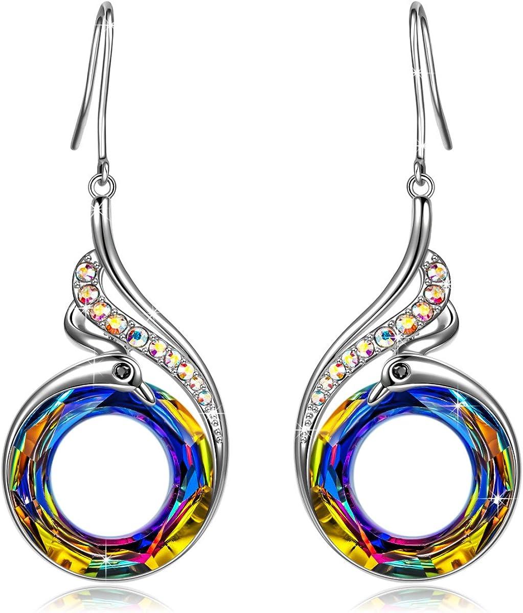 Kate Lynn - Nirvana de Fénix - Pendientes, Simbolizando la Suerte y la Renovación, Cristales de Swarovski, Diseño Original, Elegante caja de Regalo