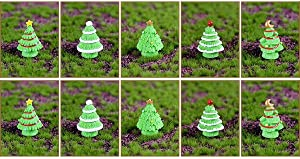 5/10 Fairy Garden Xmas Bonsai Decor Mini Christmas Trees, Figurine Miniatures Ornaments, Christmas Micro Landscape Accessories(10PCS S Light Color)