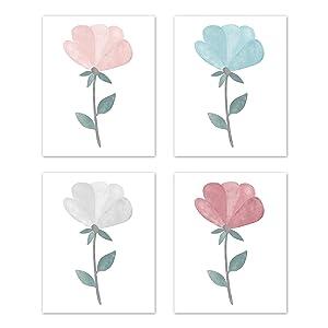 Sweet Jojo Designs Floral Rose Flowers Wall Art Prints Room Decor for Baby Nursery Kids - Set of 4 - Blush Pink Teal Turquoise Aqua Blue Grey Boho Shabby Chic Modern Watercolor Tulip Single Flower