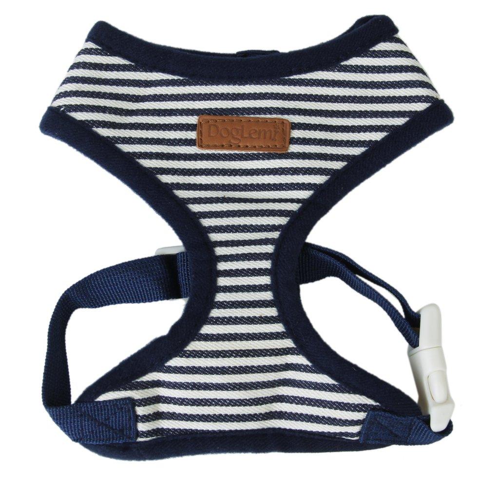Pet Dog Puppy Striped Mesh Adjustable Harness Clothes (Dark bluee, S)
