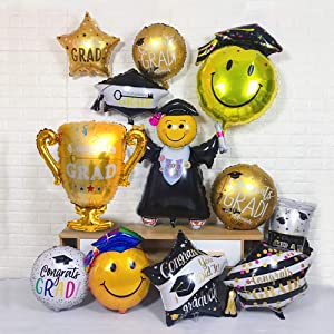 12Pcs Large Size Grad Balloons for Graduation Party Supplies 2020 and Graduation Decorations - Helium Supported Foil Mylar Balloon (Gold and Black)