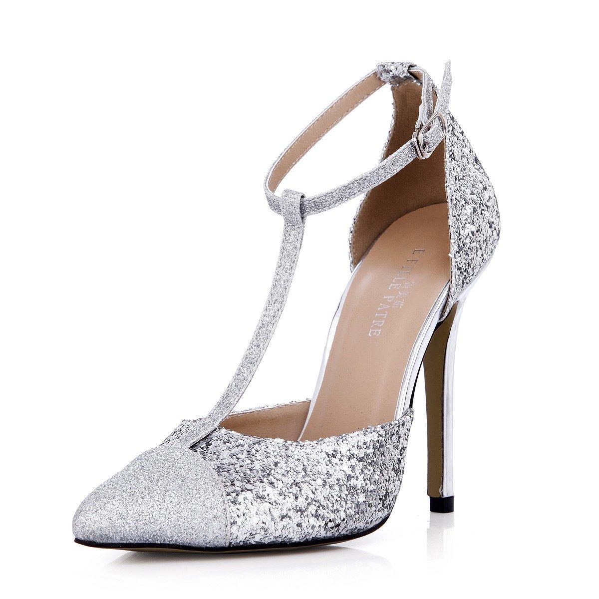 argent US10.5   EU42   UK8.5   CN43 Chaussures femmes goût nouvelle vue pointe argentée les chaussures de talon haut Chaussures