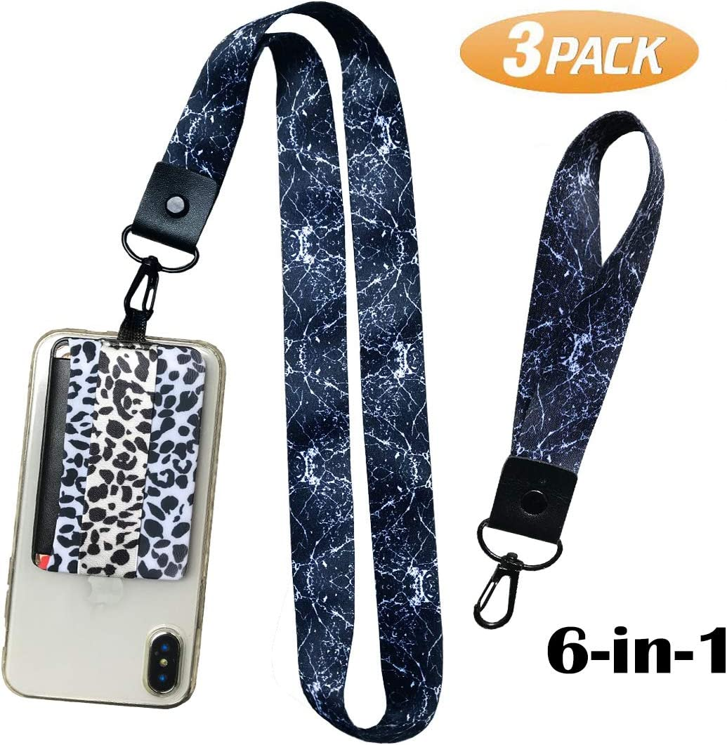 3 Pack Set (Zebra) 5in1-RFID Blocking Phone Grip Card Holder with Flip+Finger Strap Phone Holder+Wrist Lanyard+Neck Lanyard+Mounts to Magnets-Phone Card Wallet Card for All Smartphones