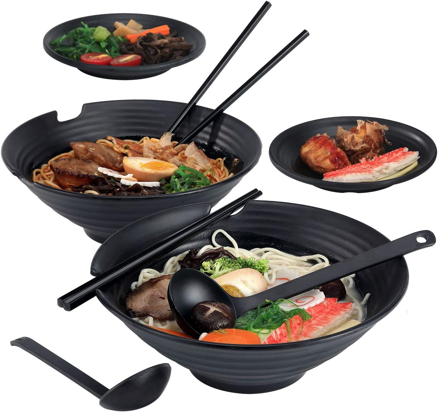 VUDECO 2 x Ramen Bowl Set for Christmas Noodles Bowl Set Pho Bowl Set Japanese Style Ramen Bowls and Spoons Set with Chopsticks Saucers Dishes Large 38 oz Bowl for Asian Food 8 PCS