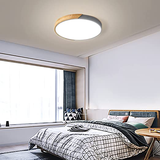 12''Bedroom LED Light Fixture Ceiling Kitchen Flush Mount Ceiling Light with Acrylic Lampshade Wood Metal Gray 3000k/4000k/6500k