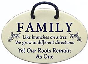Family tree wall plaque - family like branches on a tree, we grow in different directions. Ceramic wall plaques, handmade in the USA for over 30 years.