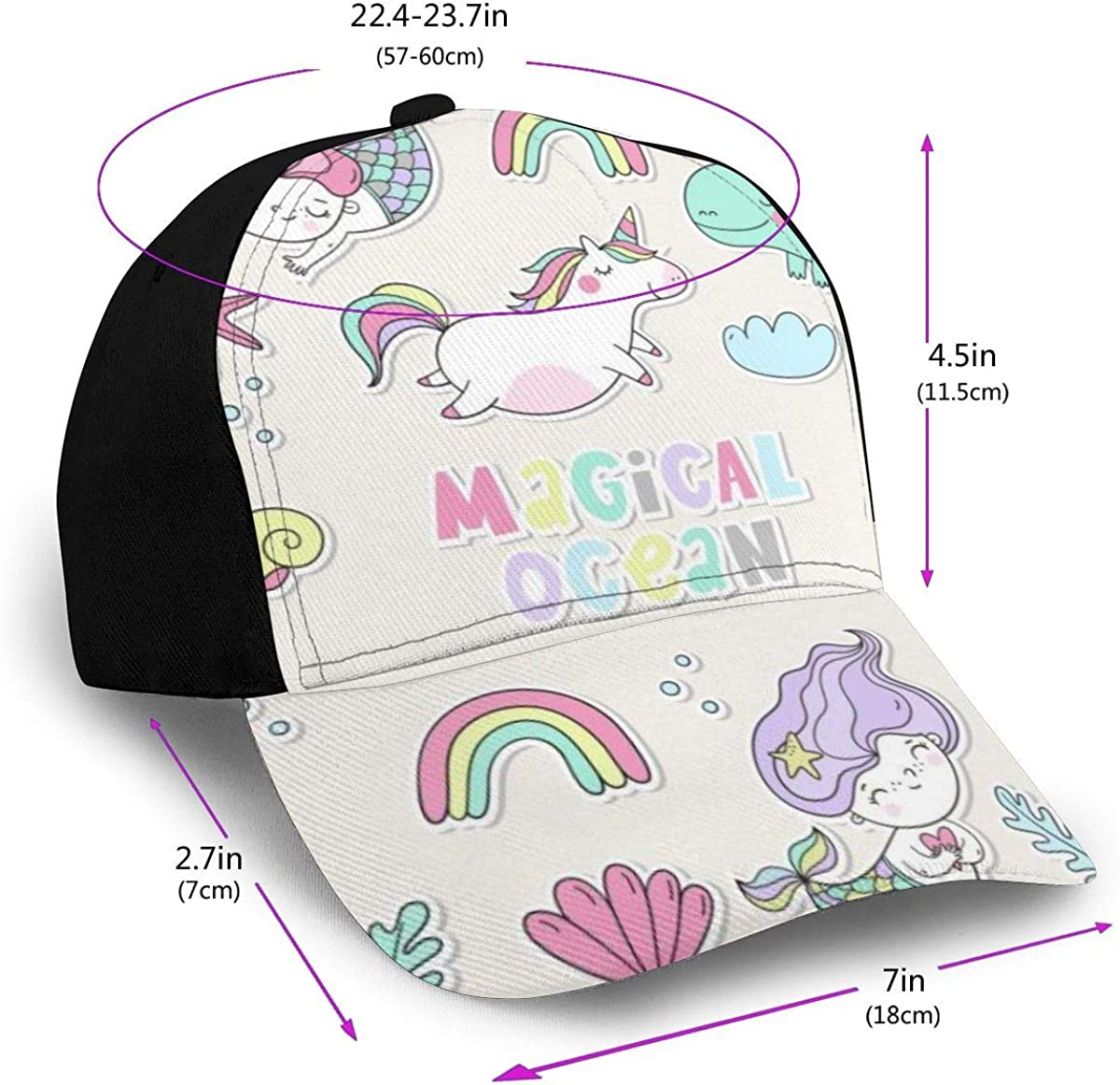 Magical Ocean Animals Star Rainbow Classic Baseball Cap Men Women Dad Hat Twill Adjustable Size