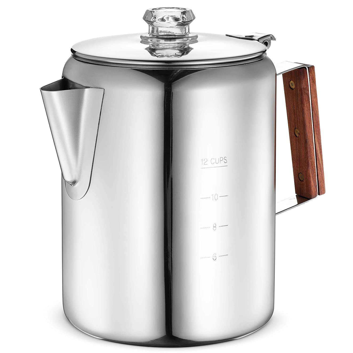 Eurolux Percolator Coffee Maker Pot - 12 Cups | Durable Stainless Steel Material | Brew Coffee On Fire, Grill or Stovetop | No Electricity, eNo Bad Plastic Taste | Ideal for Home, Camping & Travel