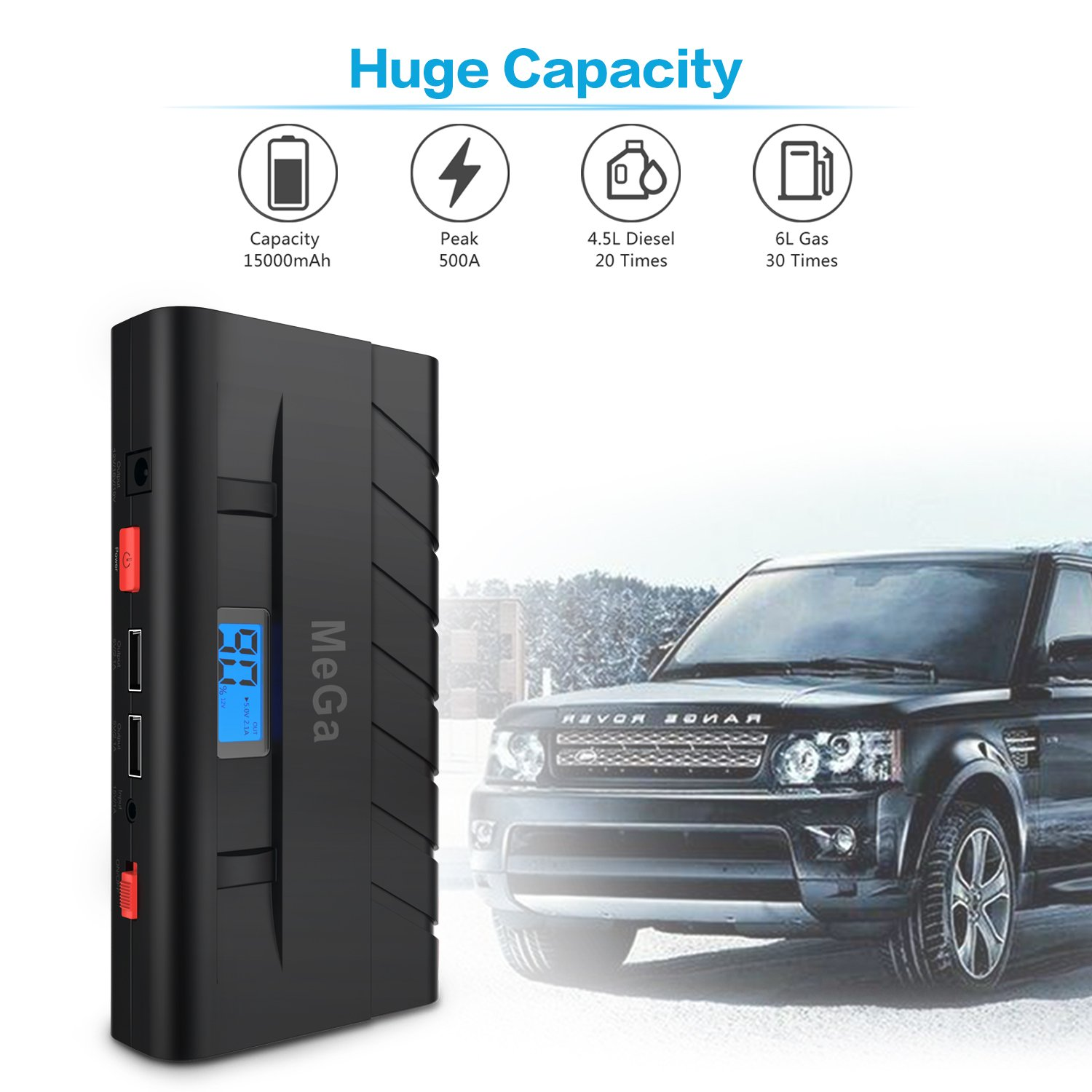 15000mAh Car Jump Starter (up to 5L Gas, 3.5L Diesel Engine), MeGa Portable Power Bank Auto Battery Booster Phone Charger with Dual USB Ports and Flashlight (Black) by Mega Brands (Image #2)
