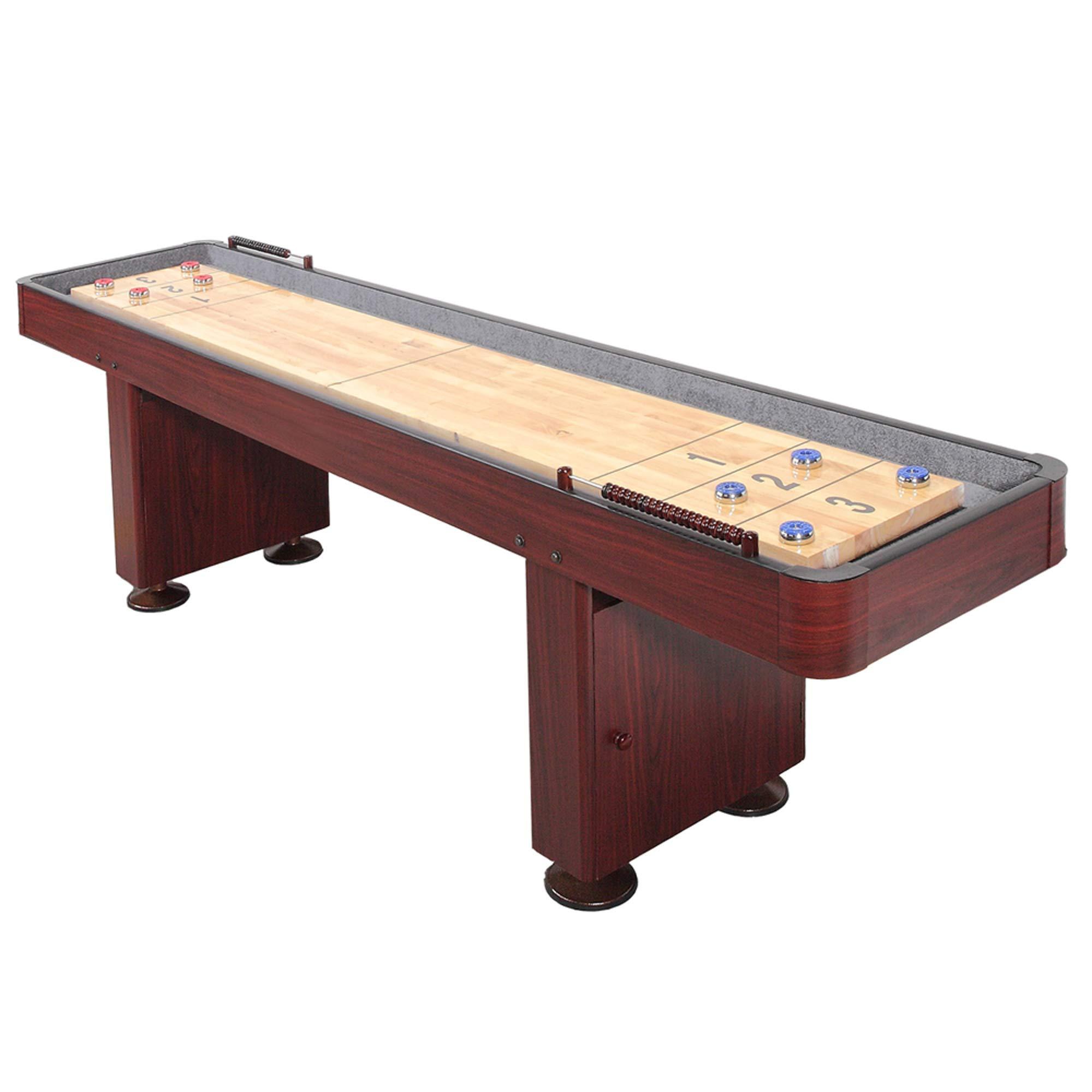 Challenger Shuffleboard Table w Dark Cherry Finish, Hardwood Playfield and Storage Cabinets