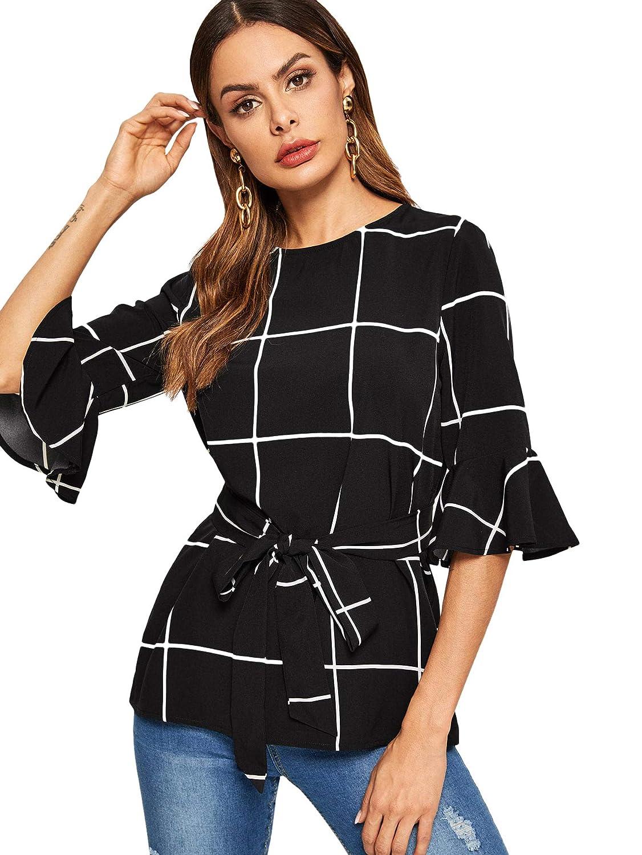 Black3 Romwe Women's Bow Self Tie Scalloped Cut Out Elegant Office Work Tunic Blouse Top
