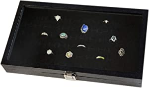 Huji Glass Top Ring Display Showcase with Velvet Insert Liner Jewelry Organizer (1, 72 Slot Case)