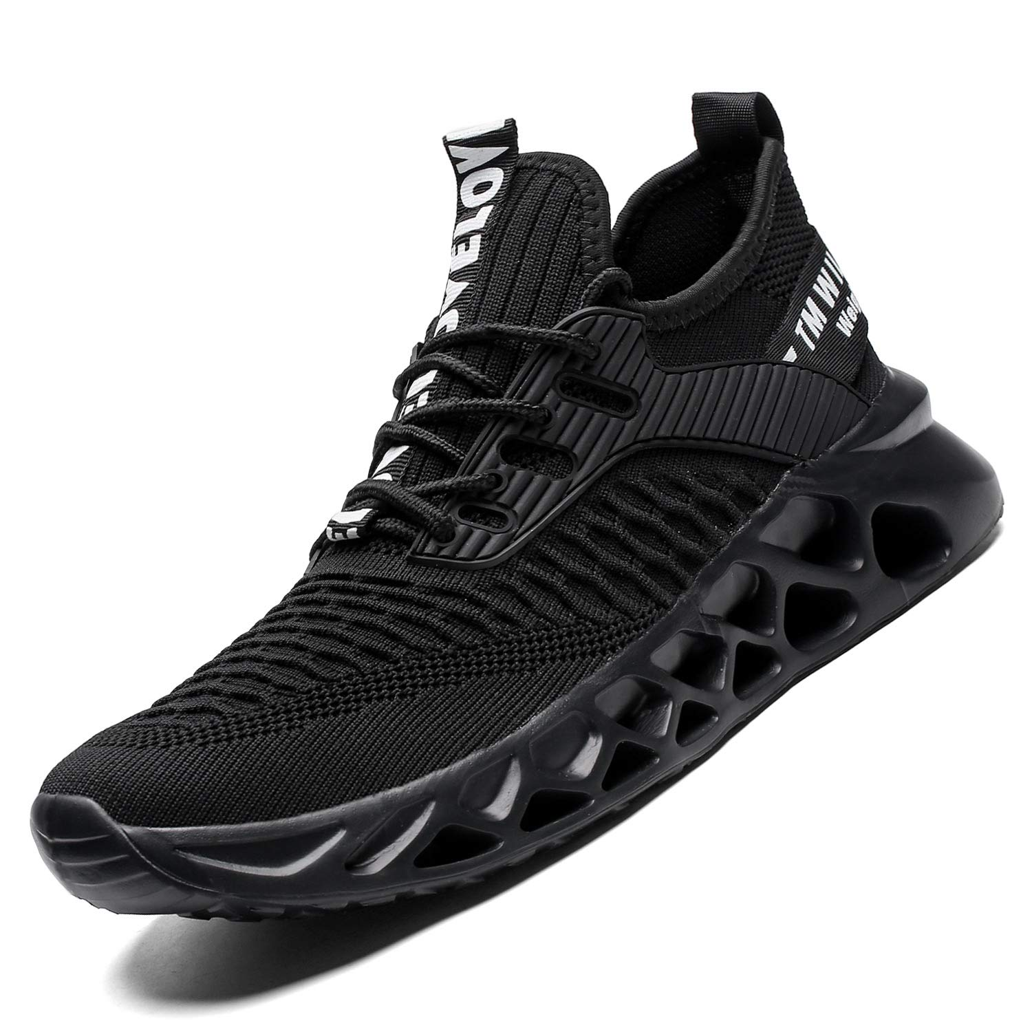 Kapsen Mens Running Shoes Mesh Breathable Sneakers Lightweight Fashion Athletic Gym Shoes Casual Tennis Sport Shoes for Workout Walking (11, 1-Full Black) by Kapsen