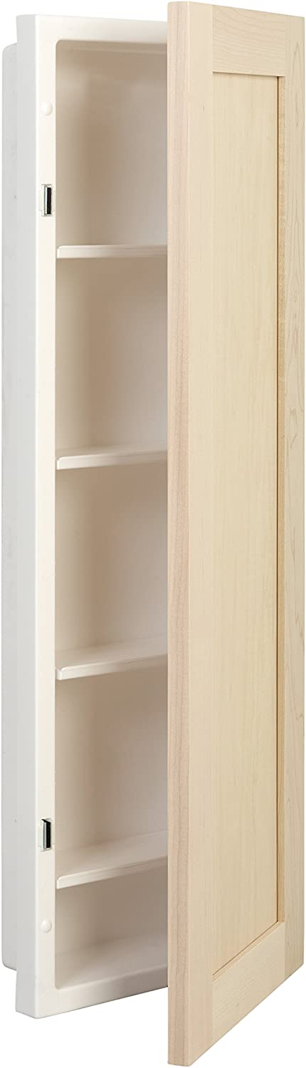 "American Pride Fontana Single Medicine Cabinet with Unfinished Maple Door, 12"" x 36"", White"