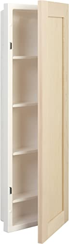 American Pride Fontana Single Medicine Cabinet with Unfinished Maple Door, 12 x 36 , White