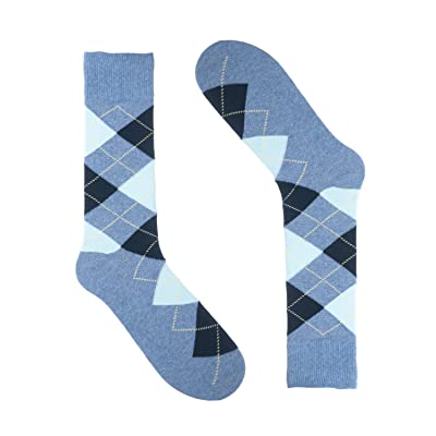 Men's Argyle Socks - Saint Yuma - Heather Baby Blue Navy - Premium Cotton at Men's Clothing store