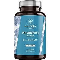 Probiotici 25 Miliardi di UFC per dose   10 Ceppi di Cellule Vive   60 Capsule Vegetali Gastroresistenti   Probiotici Complex   Prodotto da Nutridix