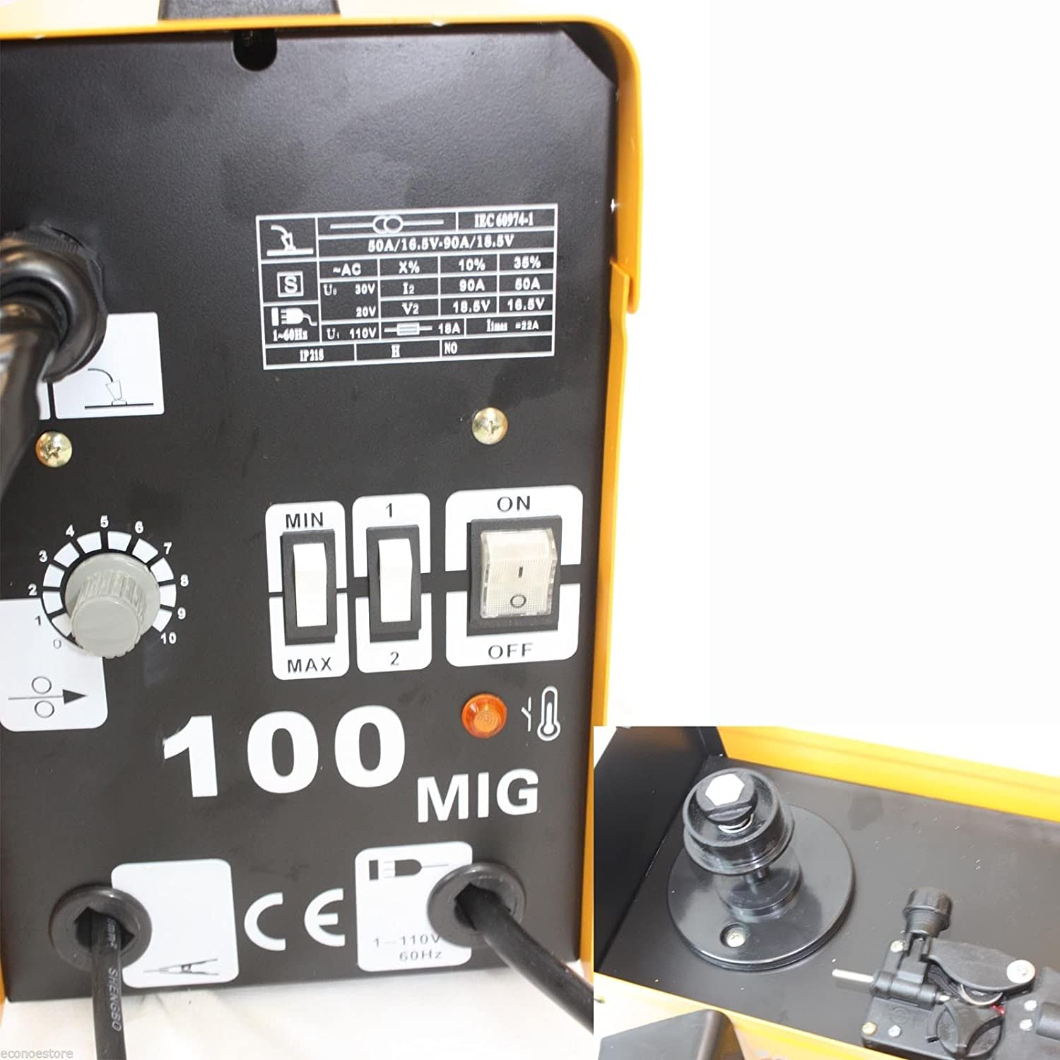 220V MIG100 Gas-Less Flux Core Welder 90 AMP Variable Wire Feed ...