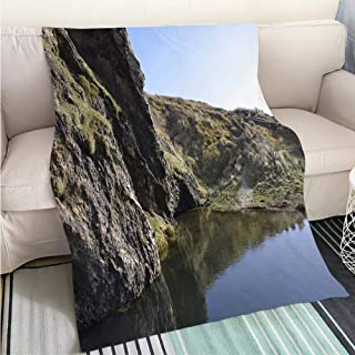 Luxury Super Soft Blanket Rock Stone Road in Sunrise with tire Imprint for Automobile Commercial Perfect for Couch Sofa or Bed Cool Quilt