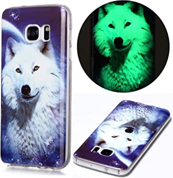 Nadoli Coque Lumineux pour Samsung Galaxy S7 Edge,étoilé Loup Motif Fluorescent Lumineuse dans Le Noir Mince Léger Souple Silicone Antichoc Caoutchouc ...