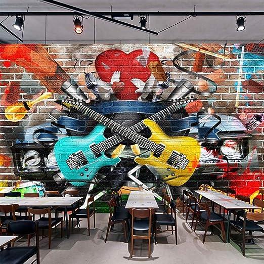 Zhcmy Pared De Ladrillos 3D Guitarra Graffiti Bar Ktv Cafe ...