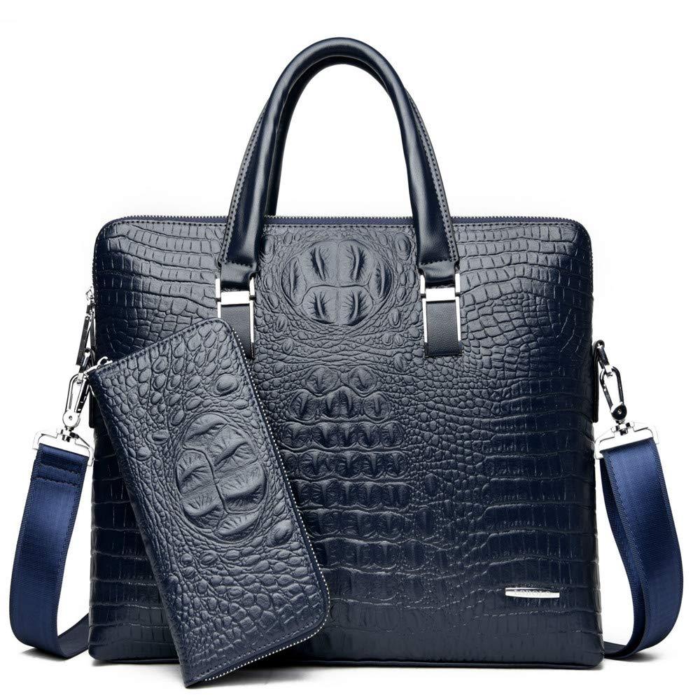 Color : Brown NYDZDM Mens Bag Fashion Business Crocodile Pattern Handbag Shoulder Document Computer Bag Gift Bag /& Wallet