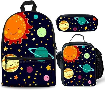 Foruidea - Juego de 3 Mochilas de Colores con Sistema Solar, Bolsa de Almuerzo, Estuche para lápices para niños de Vuelta a la Escuela, Mochila Ligera para niños y niñas: Amazon.es: Equipaje