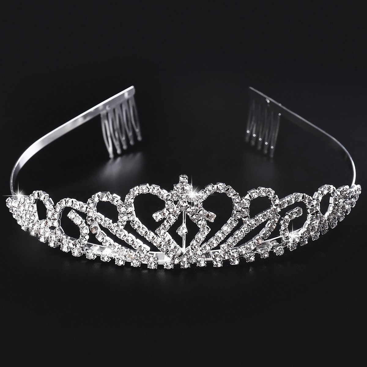 Tiara Crown, Crystal Rhinestones Wedding Tiara Headband Comb Pin for Wedding Birthday Party, 2 Pack