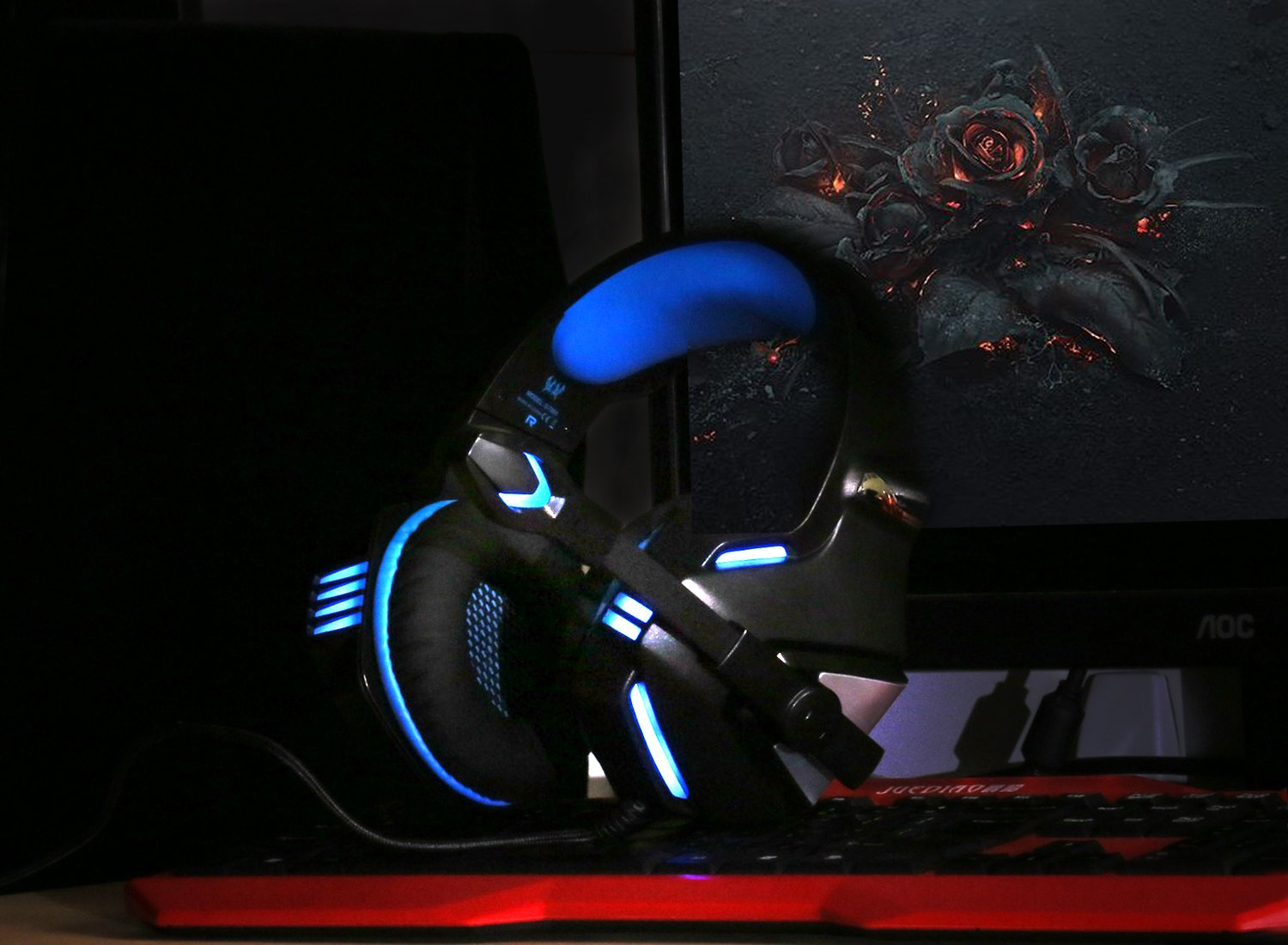 KJ-KayJI Gaming Headset for PS4 Xbox One Over Ear Gaming Headphones with Mic Stereo Bass Surround Noise Reduction,LED Lights and Volume Control for Laptop PC Mac IPad Computer Smartphones Xbox (Blue) by KJ-KayJI (Image #7)