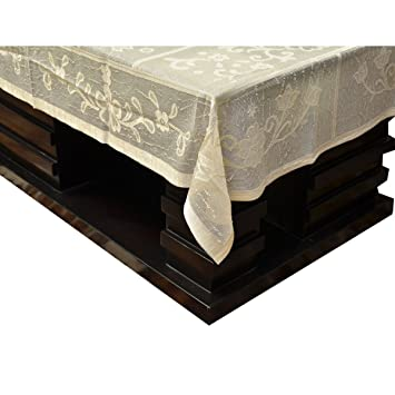 d83d4f1f0fe Buy Kuber IndustriesTM Cream Shining Cloth Net Center Table Cover 4 Seater  40   60 Inches (Code-CT0045) Online at Low Prices in India - Amazon.in