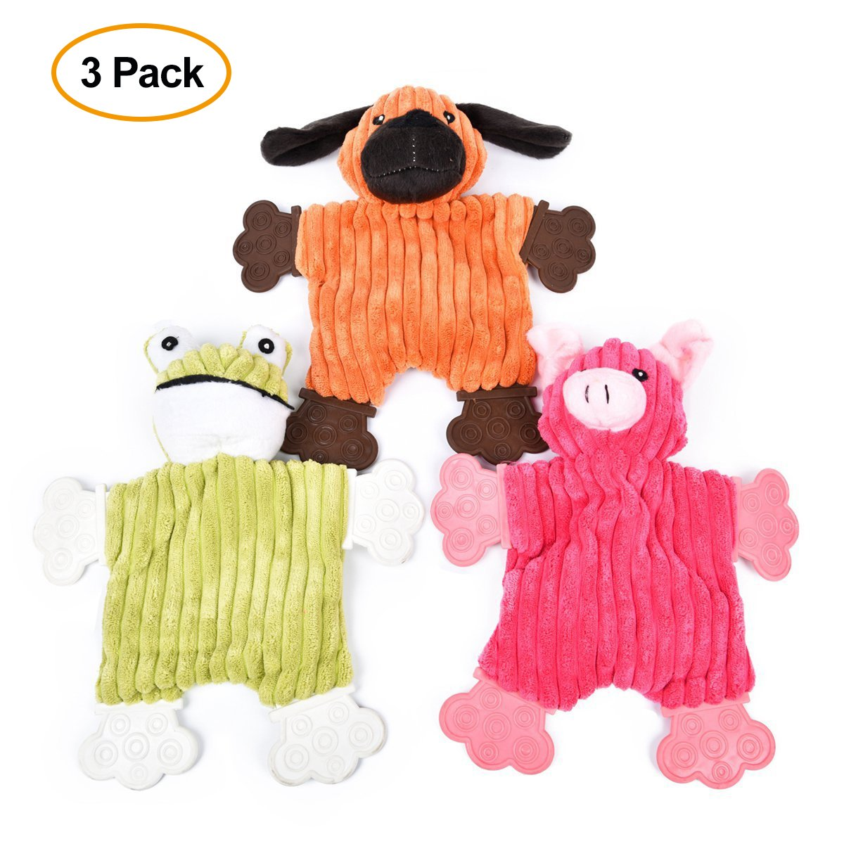 Speedy Pet Dog Chew Toys, Plush Pet Training Squeaky Chew Toy Funny Cartoon Animal Pig/Dog/Frog Toy 3pack