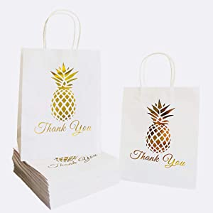 """SKYSTARS 24 Pcs Thank You Gift Paper Bags Printed Gold Pineapple Bulk with Handles - 8"""" x 4.5"""" x 10.5"""" – Free Thank You Stickers - for Shopping, Merchandise, Party, Wedding, Baby Shower, Business"""