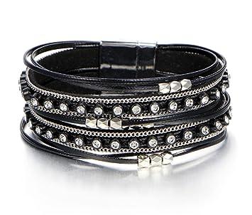 meilleur en ligne la qualité d'abord mode de premier ordre Freessom Bracelet Femme Cuir Tressé Diamant Cristal Boule ...