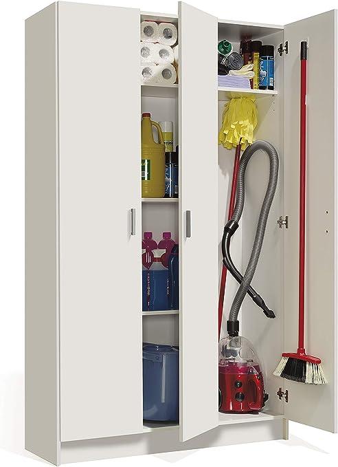 Armadio Per Scope Ikea.Esidra Armadio Portascope 3 Ante Bianco 180 X 108 8 X 37 Cm Amazon It Casa E Cucina