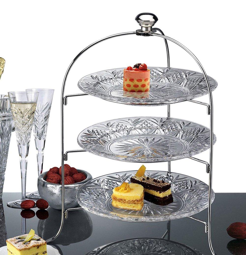 3 tier round serving platter three tiered cake tray stand food server display 630784131357 ebay. Black Bedroom Furniture Sets. Home Design Ideas