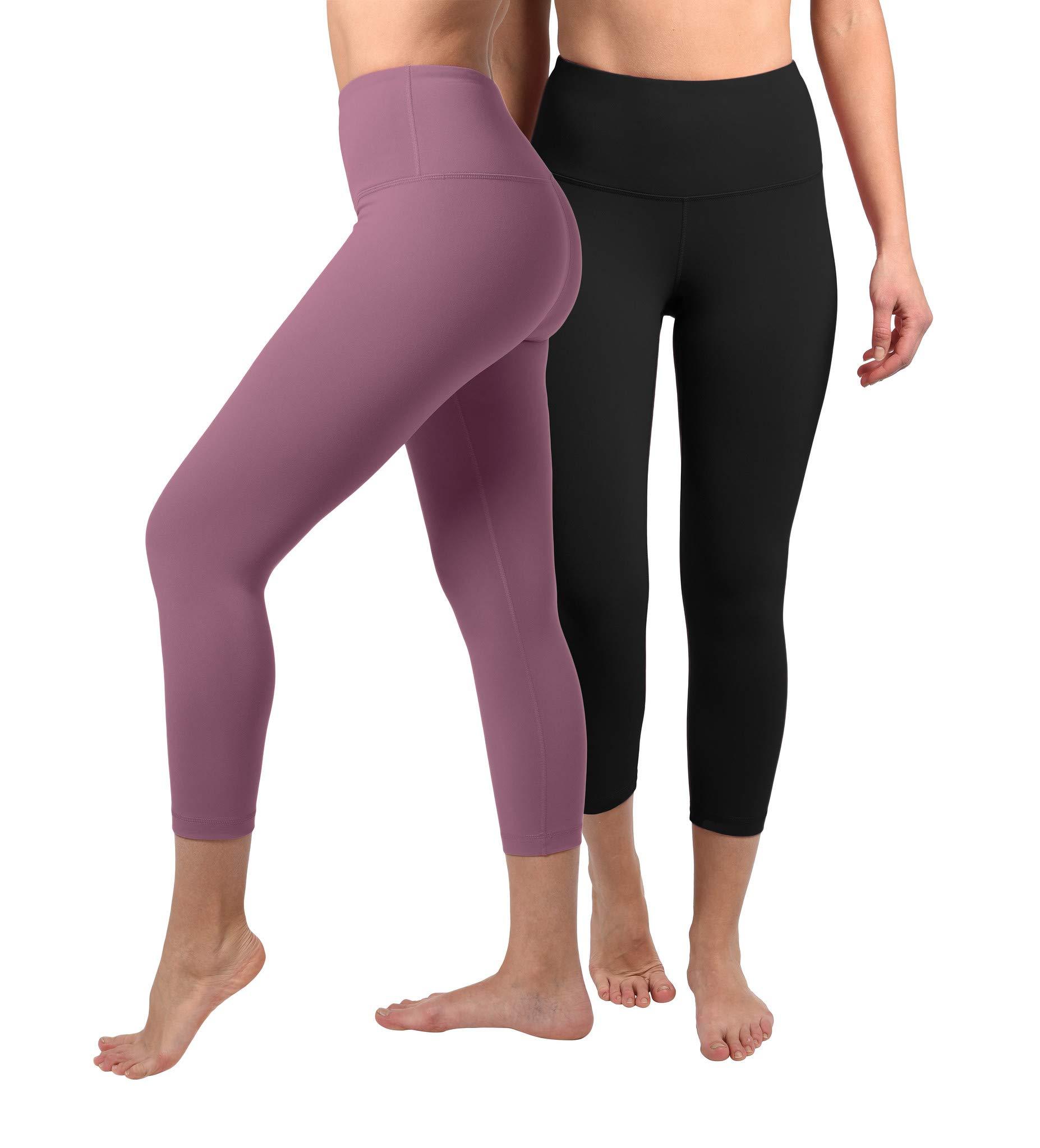 90 Degree By Reflex - High Waist Tummy Control Shapewear - Power Flex Capri - Black and Antique Rose 2 Pack - Medium by 90 Degree By Reflex