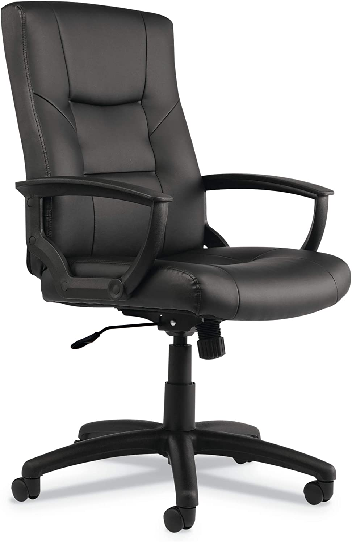 Alera ALE YR Series Executive High-Back Swivel/Tilt Leather Chair, Black