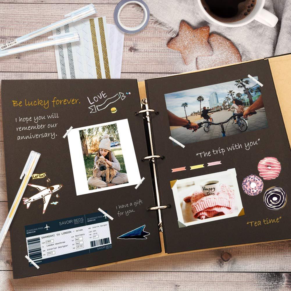 Álbum de recortes, Álbum familiar, Regalo de aniversario DIY 10X8 Página interior 30 Álbum de recortes de tarjetas negras, Álbum familiar de bricolaje ...