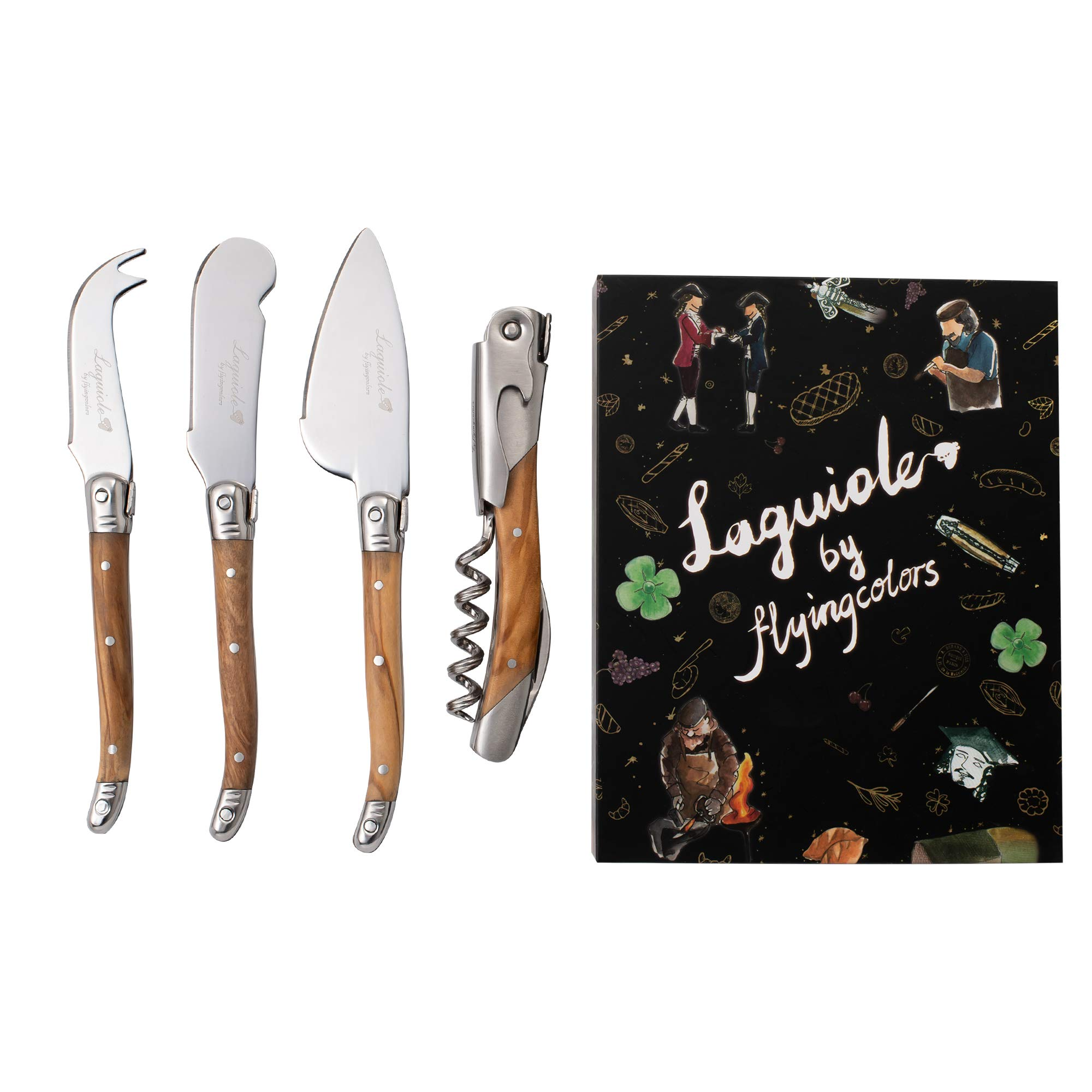 Laguiole By FlyingColors Cheese Knife Set with Corkscrew, Butter Spreader Knives Set with Bottle Opener, with Gift Box by LAGUIOLE BY FLYINGCOLORS