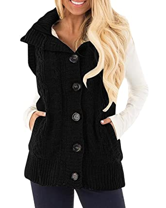 Farktop Women's Cable Knit Sleeveless Hoodies Button Down Fleece ...