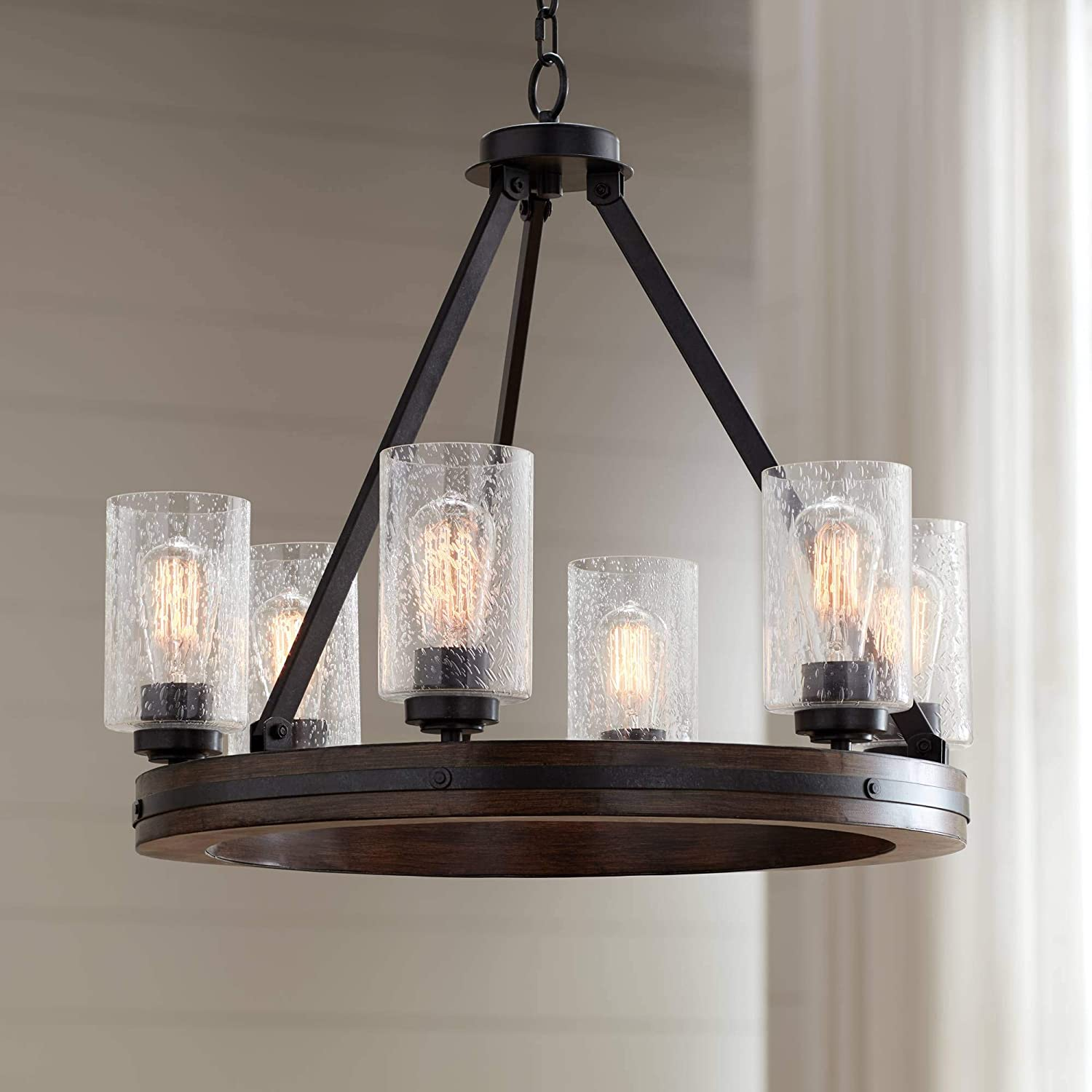 Gorham Iron Gray Wagon Wheel Chandelier 25 Wide Rustic Farmhouse Faux Wood Clear Seeded Glass 6 Light Fixture For Dining Room House Foyer Kitchen Entryway Bedroom Living Room Franklin Iron Works