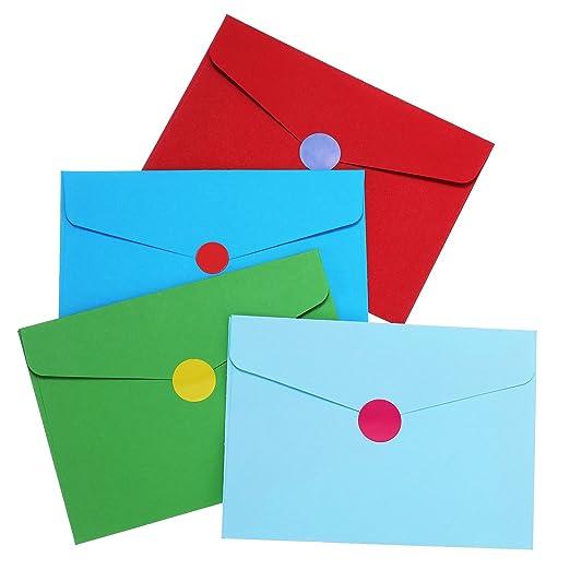 4,6 x 3,2 Pulgadas de Sobres Autoadhesivos Coloridos Pequeños para Tarjeta de Regalo de Navidad, Fiesta de Cumpleaños, Preciosas Suministros de Acción de ...