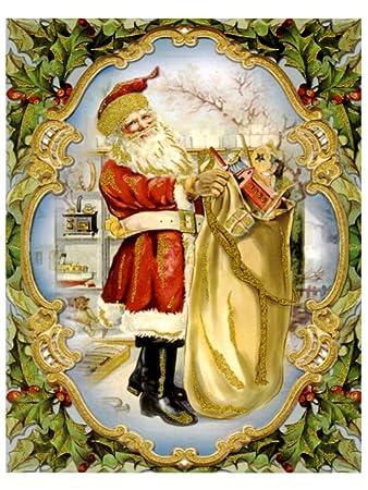 Bilder Weihnachten Nostalgisch.Amazon De Dpr Fensterbild Nostalgie Weihnachtsmann Nikolaus Mit