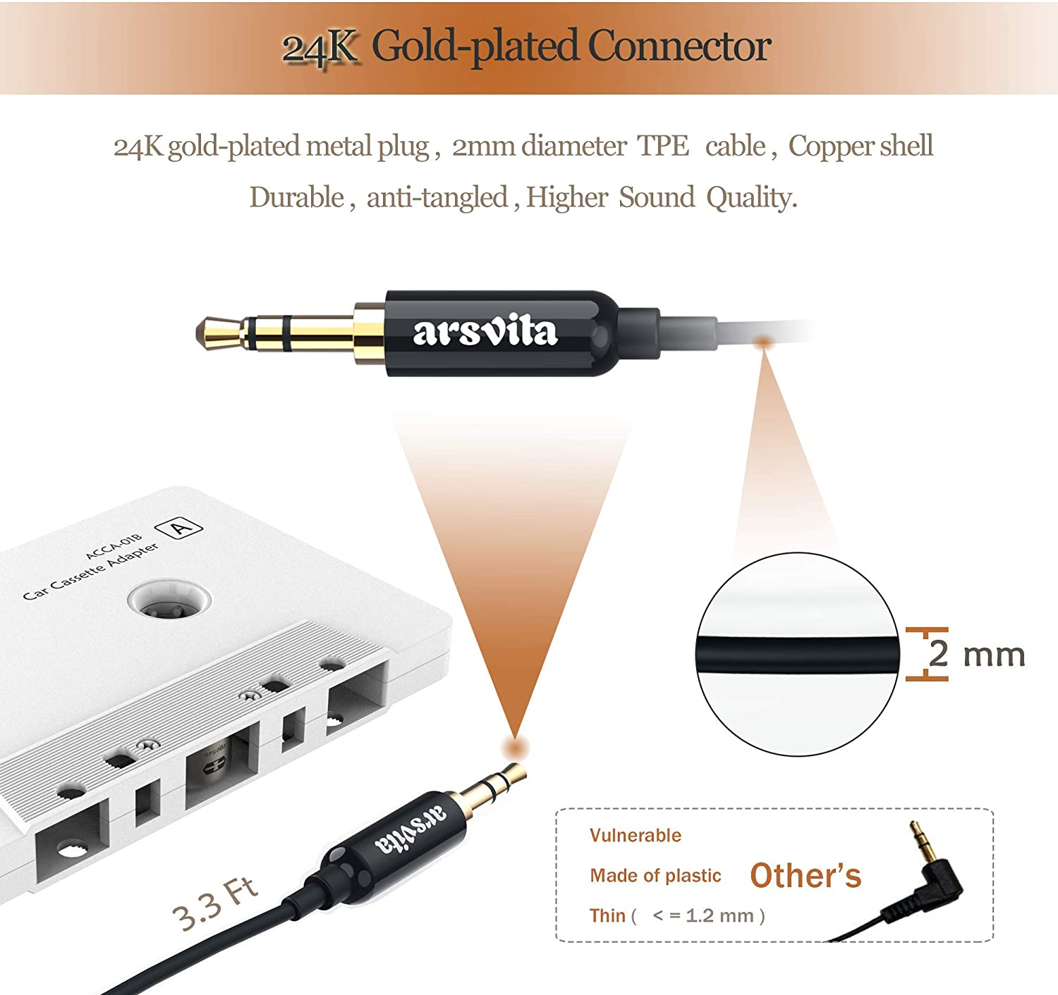 Car Audio Cassette to Aux Adapter Type-c Extension Cord