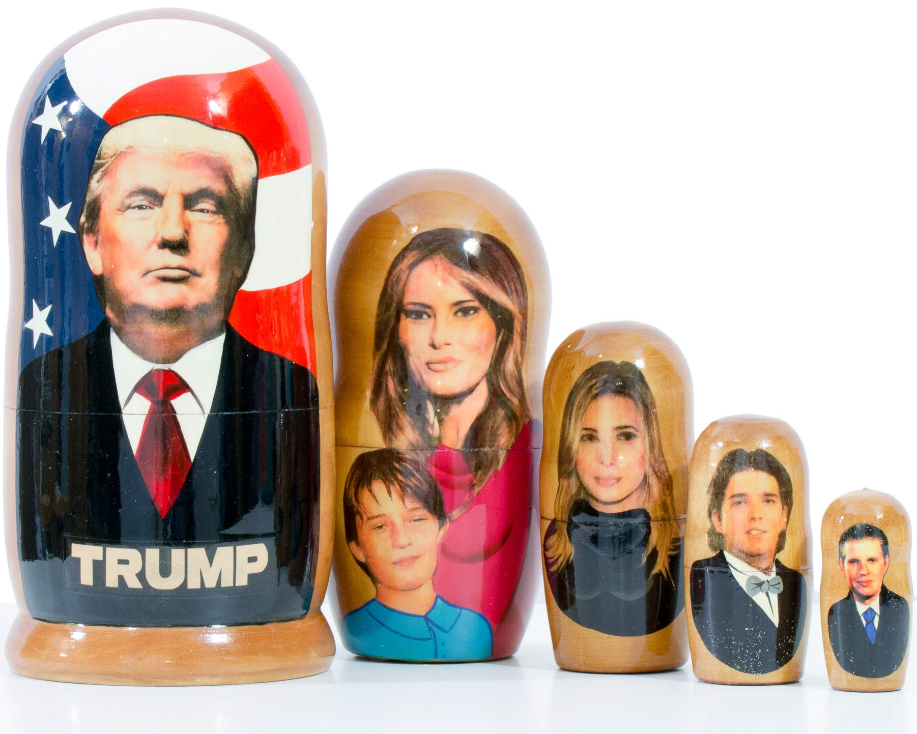 craftsfromrussia Nesting Doll - Trump and The First Family (6,75`` (5 Dolls in1), Glossy)