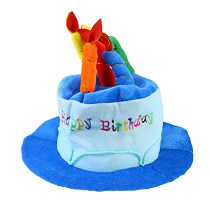 TOYMYTOY Plush Happy Birthday Cake Hat Novelty Party With Candles Blue