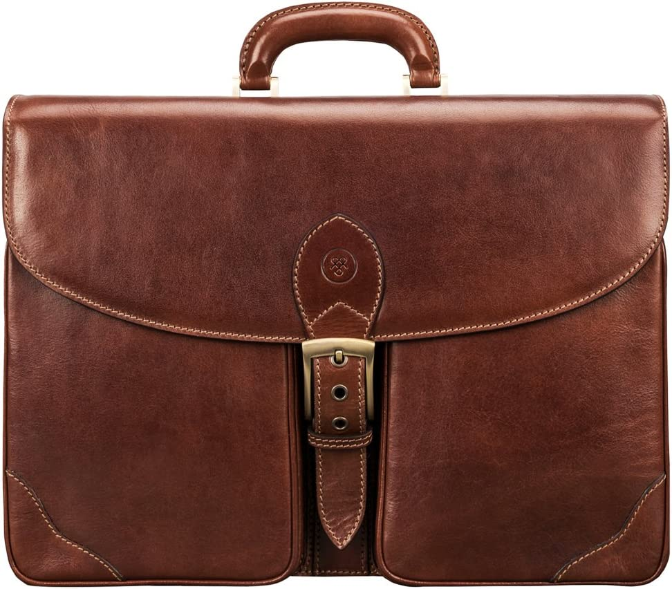 Maxwell Scott Smart Italian Leather Large Briefcase – Tomacelli Tan