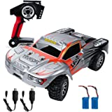 RC Car, Remote Control Car Electric WLtoys Off Road , with 2 USB Cables and 2 Rechargeable Batteries(Built-in/Standby), 1/18 Scale RC Monster Truck 2.4Ghz 4WD High Speed 30+ MPH Racing Car, Orange