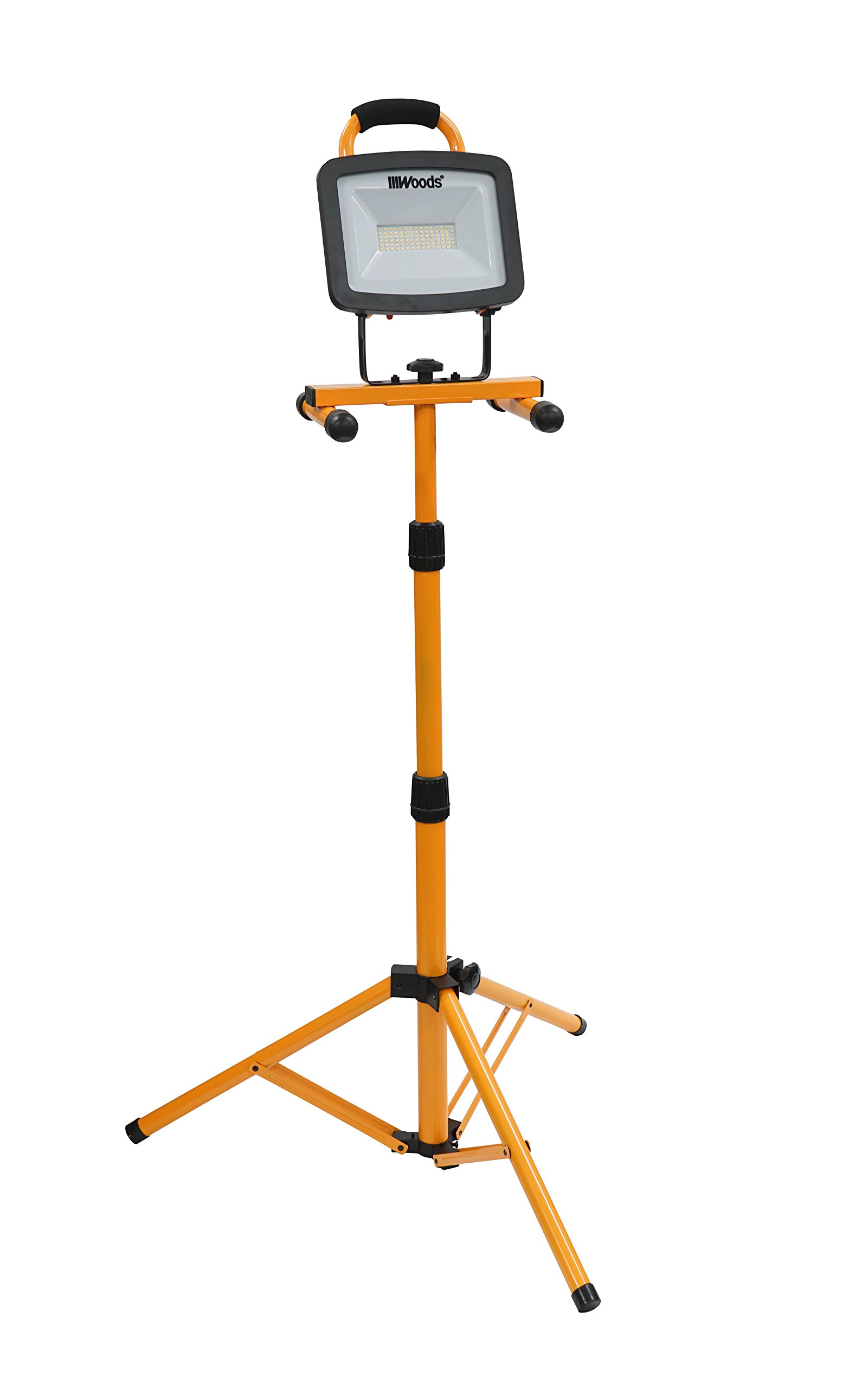 Woods WL40072S Portable Led Work Light On Steel Tripod, 6600 Lumens, 72 Watts, 4000 Kelvin, 5 Foot Cord, Orange/Black