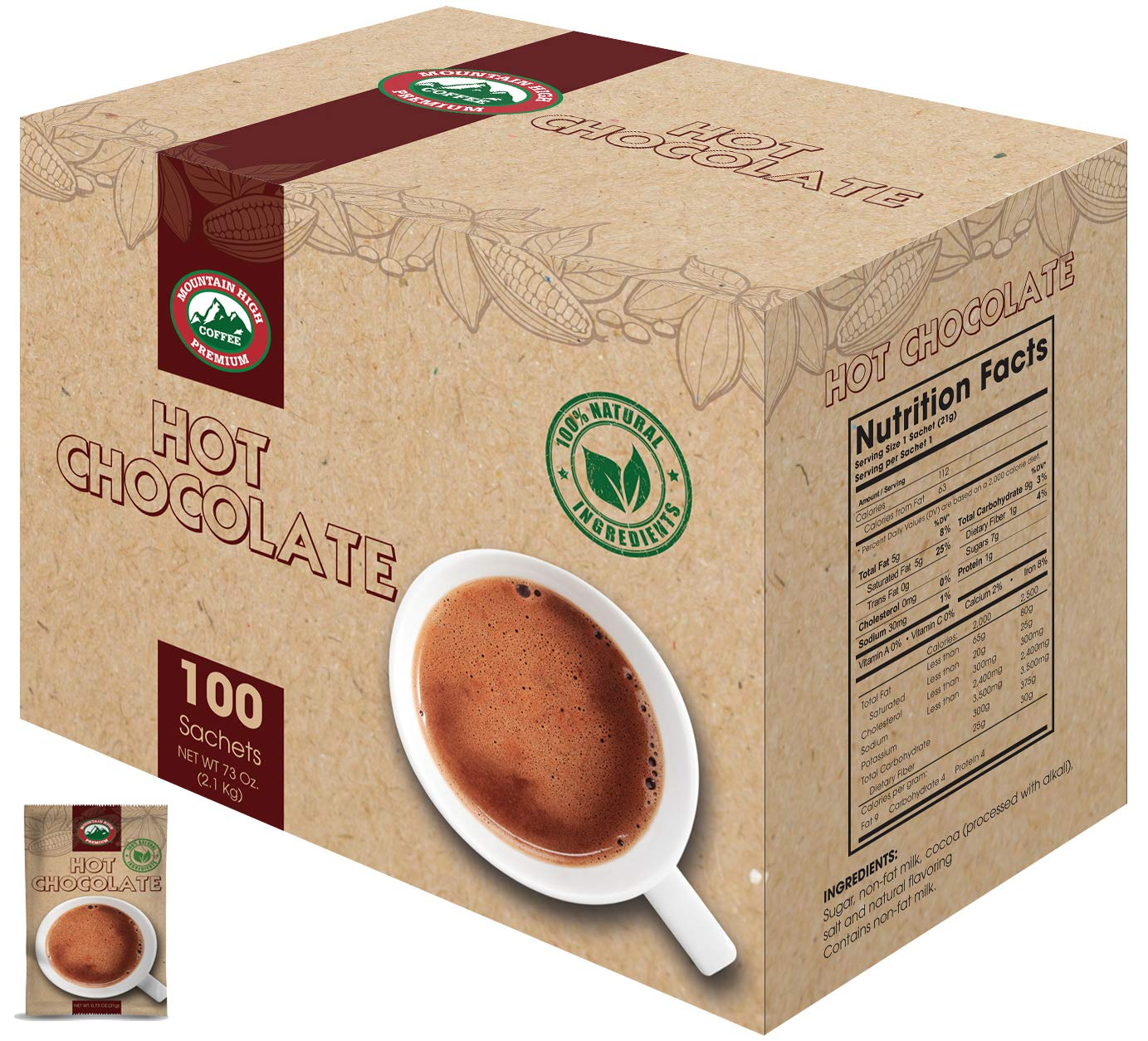 Mountain High All Natural Hot Chocolate Envelopes (Milk Chocolate, 100) by Mountain High Premium Coffee